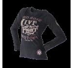 Live and Fight - LADIES LONGSLEEVE TEE - ROSE SKULL
